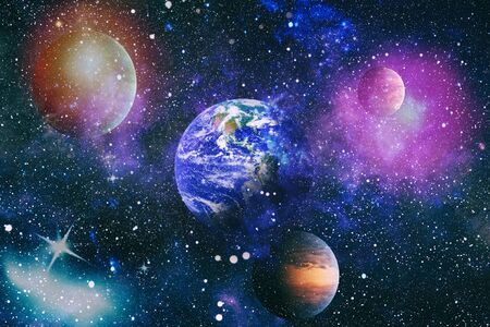 Beautiful Earth . Panoramic view of the Earth, sun, star and galaxy. Sunrise over planet Earth, view from space Stock Photo