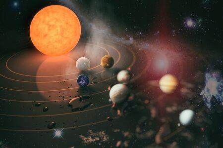 Planeta, cometa, sol y estrella del sistema solar. Sol, mercurio, Venus, planeta tierra, Marte, Júpiter, Saturno, Urano, Neptuno.
