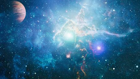 Star particle motion on black background, starlight nebula in galaxy at universe Space background.