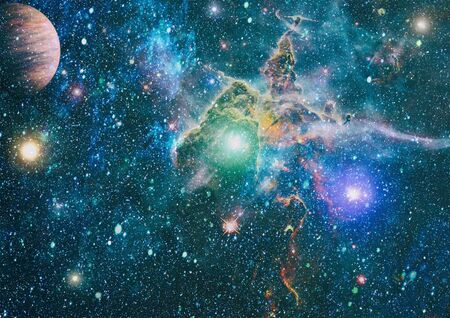planets, stars and galaxies in outer space showing the beauty of space exploration. Banque d'images