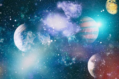 planets, stars and galaxies in outer space showing the beauty of space exploration.