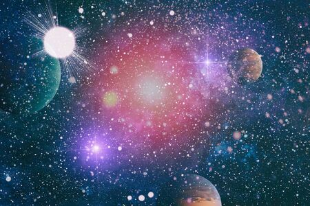 Abstract bright colorful universe. Nebula night starry sky in rainbow colors. Multi color outer space.