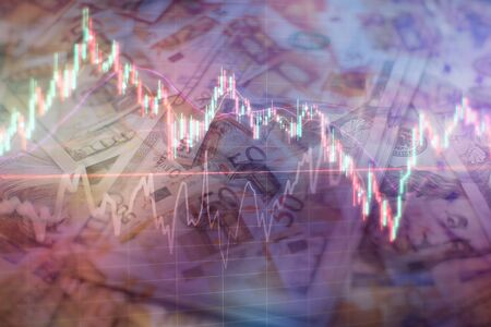 trading on the currency market Forex. Currency exchange rate for world currency: US Dollar, Euro, Frank, Yen. Financial, money, global finance, stock market background