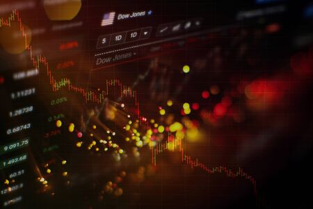 Stock index on the computer monitor . Financial data on a monitor which including of Market Analyze. Bar graphs, Diagrams, financial figures.