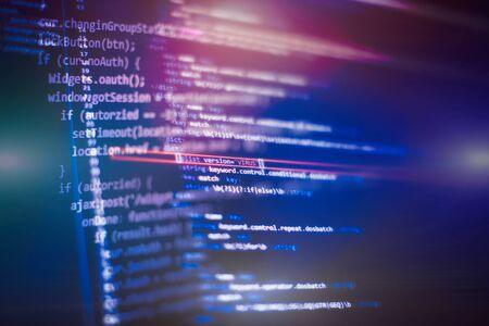 Software developer programming code. Abstract computer script code.
