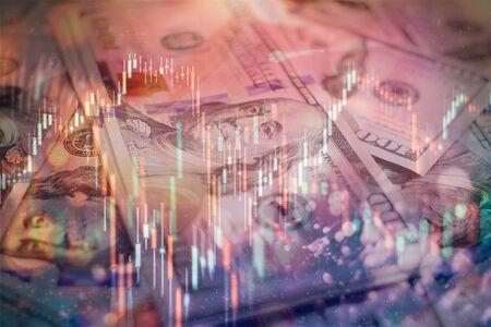 Handel auf dem Devisenmarkt Forex. Wechselkurs für Weltwährung: US-Dollar, Euro, Frank, Yen. Finanzen, Geld, globale Finanzen, Börsenhintergrund Standard-Bild