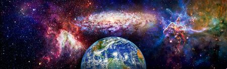 Panoramic view of the Earth, Nebula and Space. Western hemisphere. Space, nebula and planet Earth.