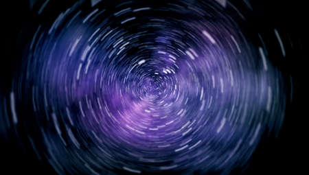 Space Travelling in the Speed of Light. Abstract of warp or hyperspace motion in blue star trail. Stock Photo