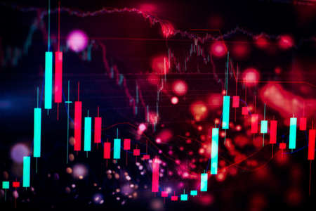 Concept of stock market and fintech. Blurry blue digital charts over dark blue background. Futuristic financial interface.