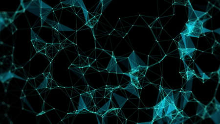 Futuristic polygonal background. Triangular. Wallpaper. Abstract polygonal space low poly dark background with connecting dots and lines. Connection structure. Reklamní fotografie