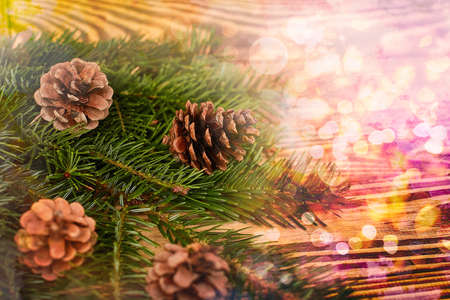 Christmas background, shishbka on a wooden board with a beautiful background