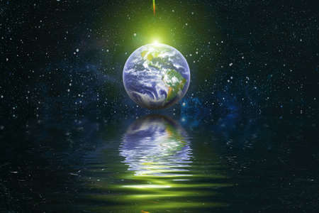 Beautiful unusual space planet in space reflected in water. Our beautiful Earth in reflection of water overlooking space ,galaxy stars night sky,
