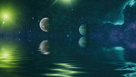 Nebula and galaxies in space. Deep reflected space in water , Space many light years far from the Earth.