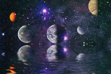 Beautiful unusual space planet in space reflected in water. Our beautiful Earth in reflection of water overlooking space ,galaxy stars night sky Banque d'images