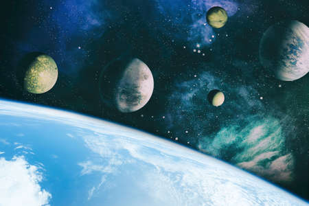 Stars of a planet and galaxy in a free space. Banque d'images