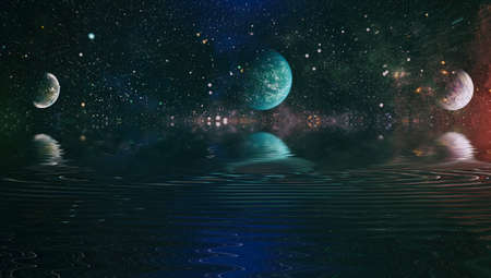 Beautiful unusual space planet in space reflected in water. galaxy stars night sky Banque d'images