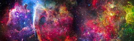 Incredibly beautiful galaxy in outer space. Nebula night starry sky in rainbow colors. Multicolor outer space.