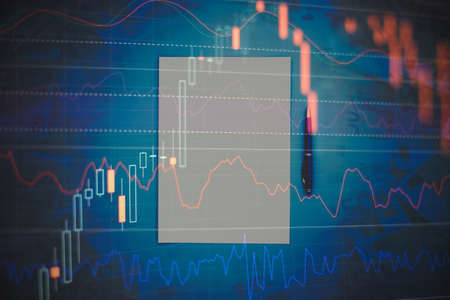 Falling stock markets, stocks for coronavirus, analysis for professional technical analysis on the monitor of a computer.