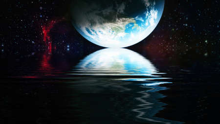 space planet in space reflected in water. galaxy stars night sky Banque d'images