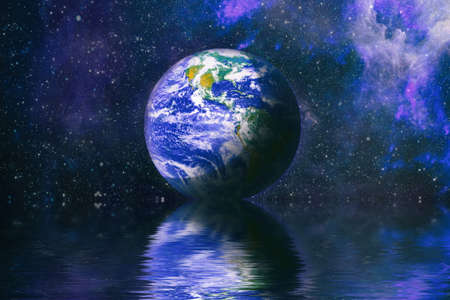 Earth beautiful unusual space planet in space reflected in water. galaxy stars night sky Banque d'images