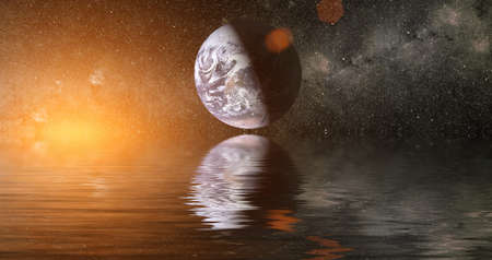 Beautiful unusual space planet in space reflected in water. Our beautiful Earth in reflection of water overlooking space, galaxy stars night sky