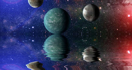 Beautiful unusual space planet in space reflected in water, galaxy stars night sky