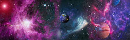 Planet Earth seen from space, planets, stars and galaxies in outer space showing the beauty of space exploration. 版權商用圖片