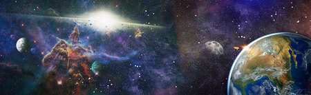Earth from space. Earth globe with stars and nebula background. Earth, Galaxy and Sun from space. Blue Sunrise.