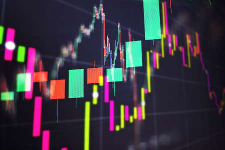 Working set for analyzing financial statistics and analyzing a market data. Business success and growth concept. Stock market business graph chart on digital screen. Forex market, Gold market and Crude oil market.