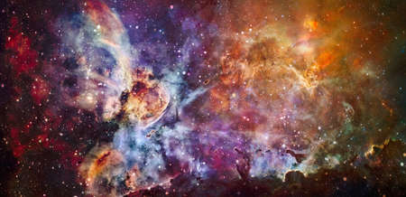 Colorful cosmos with stardust and milky way. Magic color galaxy. Infinite universe and starry night