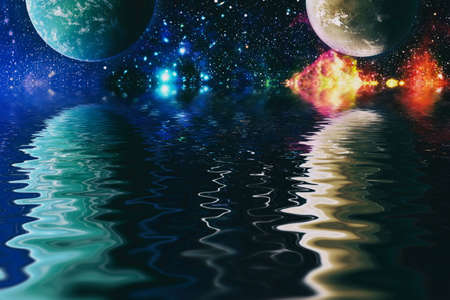 Beautiful unusual space planet in space reflected in water, galaxy stars night sky Banque d'images