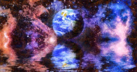 Nebula and galaxies in space. Deep reflected space in water, Space many light years far from the Earth.