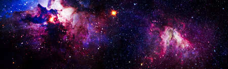 Nebula night starry sky in rainbow colors. Multicolor outer space. Star field and nebula in deep space many light years far from planet Earth.