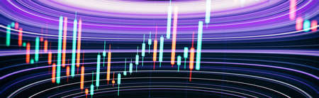 Stock market trade indicator financial for investment strategy. Financial trading graphs on monitor. Background with currency bars and candles