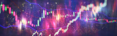 Stock market trading charts in the forex market, trends in the economy and trade