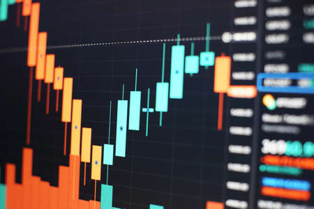Stock exchange market chart background. Candle stick graph chart with indicator. Stock Photo