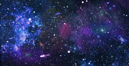 Space scene with stars in the galaxy. Panorama. Universe filled with stars, nebula and galaxy ,. Stock Photo