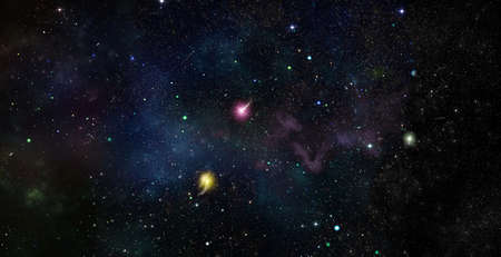 dark outer space scene with many different stars, planets