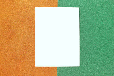 orange and green geometric abstract background. Template for the designer Stock Photo