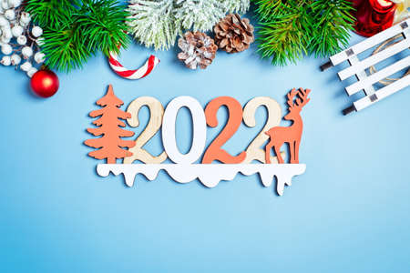 2022 new year background. Seasonal packaging and New Year's attributes