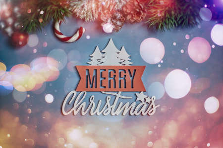 Christmas background with fir tree and decor. Top view with copy space