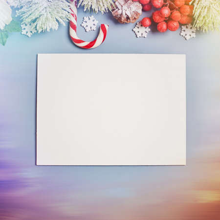 Wooden table decorated with Christmas gifts. Background with copy space mockup. Merry Christmas and happy new year.