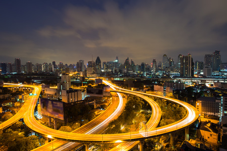thailand: Bangkok Expressway and Highway top view during twilight time , Thailand Stock Photo