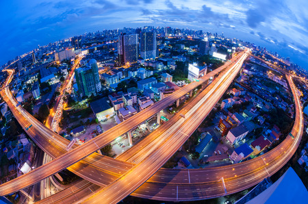 city view: Bangkok Expressway and Highway top view during twilight time , Thailand Stock Photo