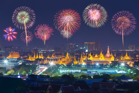 Colorful firework at Wat Phra Kaew, Temple of the Emerald Buddha and Grand Palace in a celebration , Bangkok, Thailand