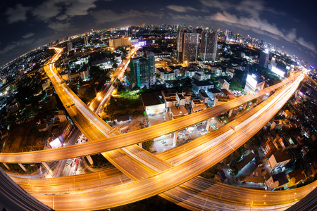 traffic lights: Bangkok Expressway and Highway top view during twilight time , Thailand Stock Photo