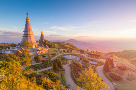 phon: Landscape of two pagoda (noppha methanidon-noppha phon phum siri stupa) in an Inthanon mountain, chiang mai, Thailand Stock Photo
