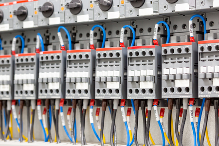 wirework: Power circuit breakers for high-voltage network. Industrial background.
