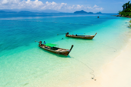 Long tail boat on the beach.Wonderful background.Aerial view from Andaman beach.