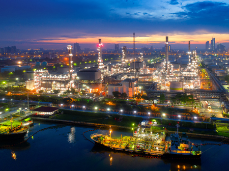 Aerial view of twilight of oil refinery and Petrochemical plant at dusk , Bangkok, Thailand